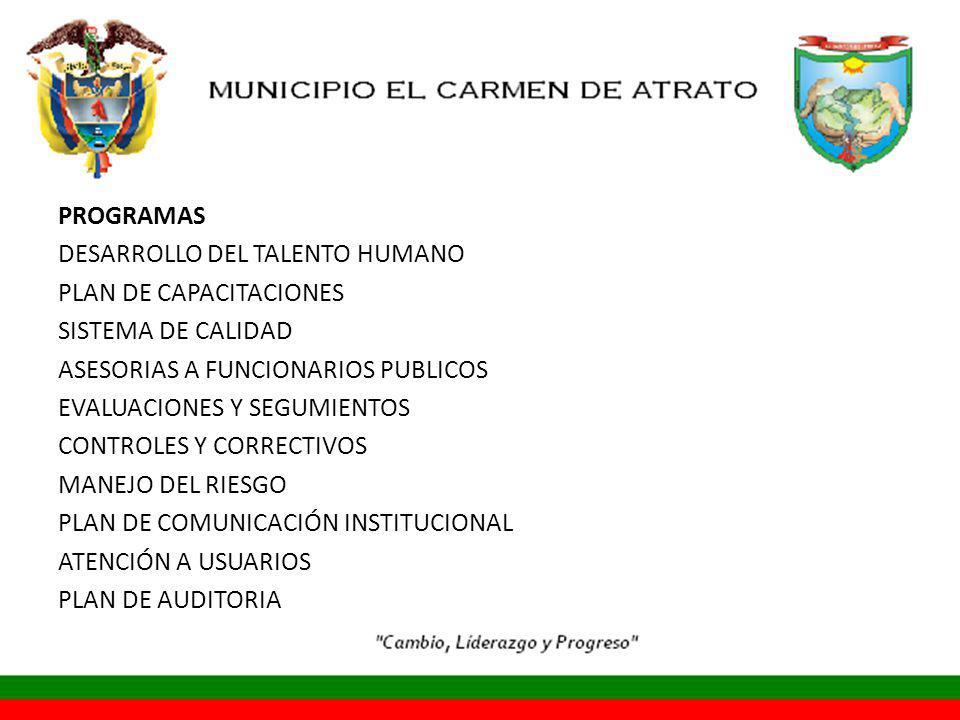 PROGRAMAS DESARROLLO DEL TALENTO HUMANO PLAN DE CAPACITACIONES SISTEMA DE CALIDAD ASESORIAS A FUNCIONARIOS PUBLICOS EVALUACIONES Y SEGUMIENTOS CONTROLES Y CORRECTIVOS MANEJO DEL RIESGO PLAN DE COMUNICACIÓN INSTITUCIONAL ATENCIÓN A USUARIOS PLAN DE AUDITORIA