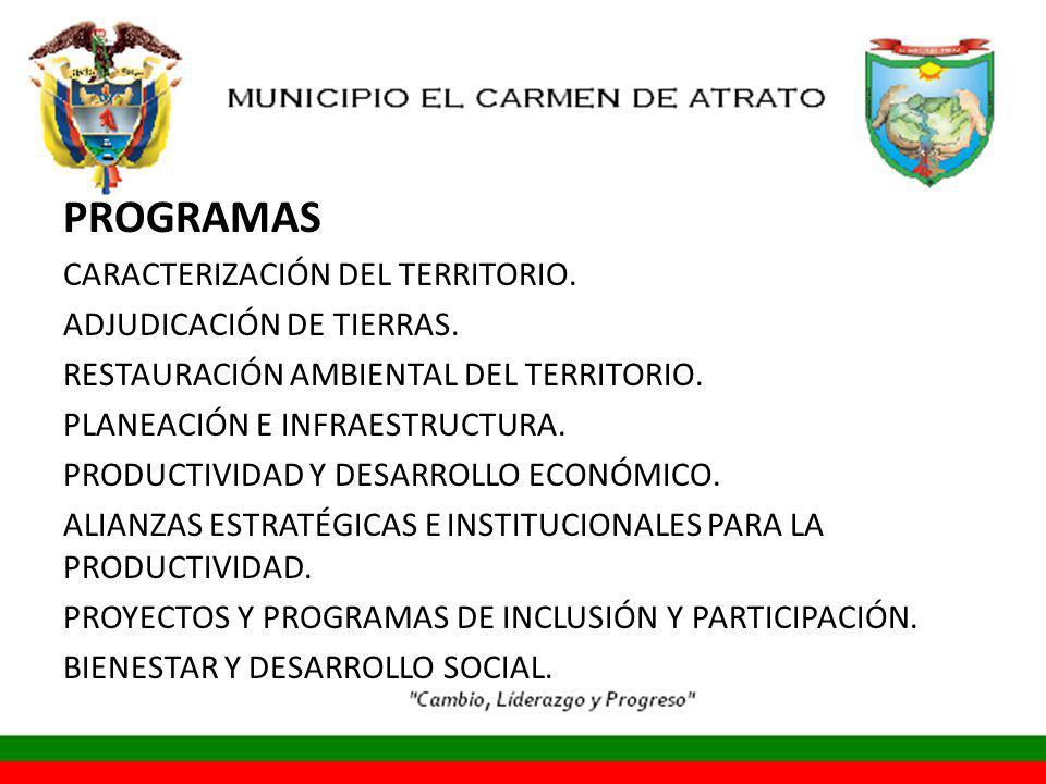 PROGRAMAS CARACTERIZACIÓN DEL TERRITORIO.ADJUDICACIÓN DE TIERRAS.
