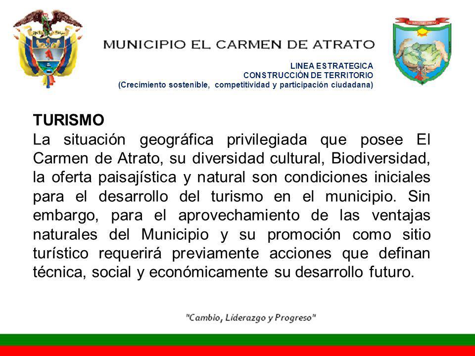 LINEA ESTRATEGICA CONSTRUCCIÓN DE TERRITORIO (Crecimiento sostenible, competitividad y participación ciudadana) TURISMO La situación geográfica privil