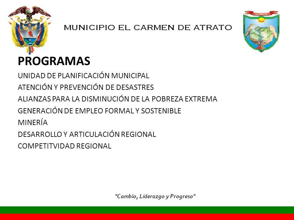 PROGRAMAS UNIDAD DE PLANIFICACIÓN MUNICIPAL ATENCIÓN Y PREVENCIÓN DE DESASTRES ALIANZAS PARA LA DISMINUCIÓN DE LA POBREZA EXTREMA GENERACIÓN DE EMPLEO FORMAL Y SOSTENIBLE MINERÍA DESARROLLO Y ARTICULACIÓN REGIONAL COMPETITVIDAD REGIONAL
