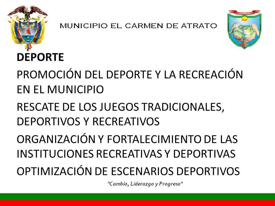 DEPORTE PROMOCIÓN DEL DEPORTE Y LA RECREACIÓN EN EL MUNICIPIO RESCATE DE LOS JUEGOS TRADICIONALES, DEPORTIVOS Y RECREATIVOS ORGANIZACIÓN Y FORTALECIMIENTO DE LAS INSTITUCIONES RECREATIVAS Y DEPORTIVAS OPTIMIZACIÓN DE ESCENARIOS DEPORTIVOS