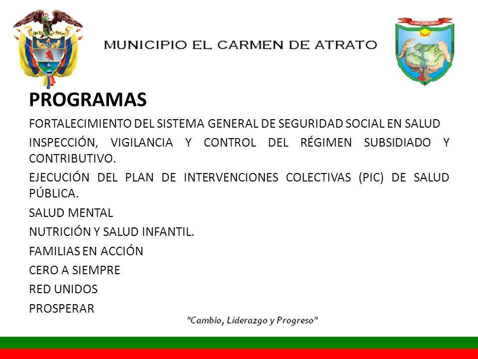 PROGRAMAS FORTALECIMIENTO DEL SISTEMA GENERAL DE SEGURIDAD SOCIAL EN SALUD INSPECCIÓN, VIGILANCIA Y CONTROL DEL RÉGIMEN SUBSIDIADO Y CONTRIBUTIVO.