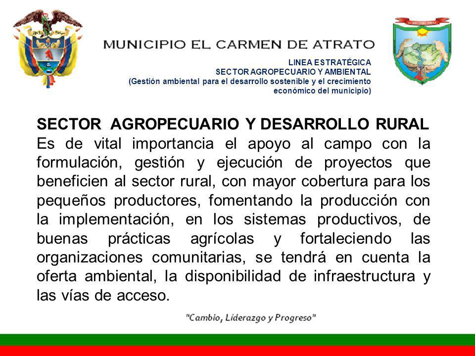 LINEA ESTRATÉGICA SECTOR AGROPECUARIO Y AMBIENTAL (Gestión ambiental para el desarrollo sostenible y el crecimiento económico del municipio) SECTOR AGROPECUARIO Y DESARROLLO RURAL Es de vital importancia el apoyo al campo con la formulación, gestión y ejecución de proyectos que beneficien al sector rural, con mayor cobertura para los pequeños productores, fomentando la producción con la implementación, en los sistemas productivos, de buenas prácticas agrícolas y fortaleciendo las organizaciones comunitarias, se tendrá en cuenta la oferta ambiental, la disponibilidad de infraestructura y las vías de acceso.