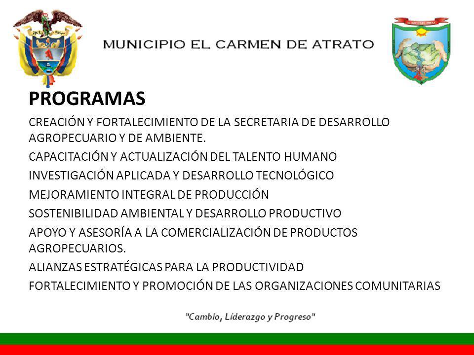 PROGRAMAS CREACIÓN Y FORTALECIMIENTO DE LA SECRETARIA DE DESARROLLO AGROPECUARIO Y DE AMBIENTE.