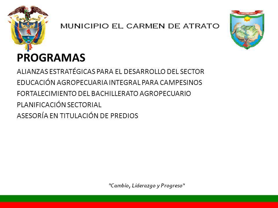 PROGRAMAS ALIANZAS ESTRATÉGICAS PARA EL DESARROLLO DEL SECTOR EDUCACIÓN AGROPECUARIA INTEGRAL PARA CAMPESINOS FORTALECIMIENTO DEL BACHILLERATO AGROPECUARIO PLANIFICACIÓN SECTORIAL ASESORÍA EN TITULACIÓN DE PREDIOS