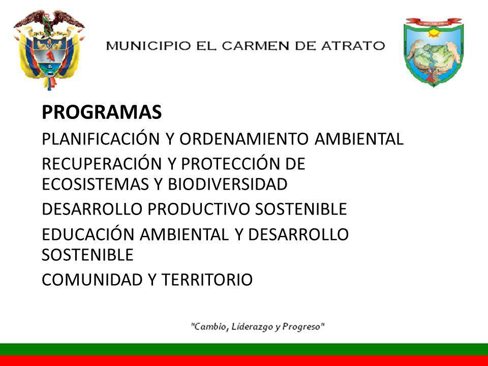 PROGRAMAS PLANIFICACIÓN Y ORDENAMIENTO AMBIENTAL RECUPERACIÓN Y PROTECCIÓN DE ECOSISTEMAS Y BIODIVERSIDAD DESARROLLO PRODUCTIVO SOSTENIBLE EDUCACIÓN AMBIENTAL Y DESARROLLO SOSTENIBLE COMUNIDAD Y TERRITORIO