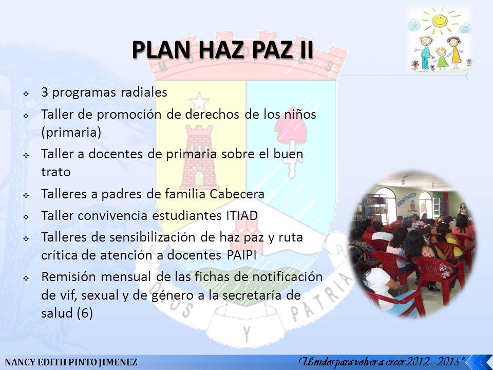 Unidos para volver a creer 2012 – 2015 NANCY EDITH PINTO JIMENEZ 3 programas radiales Taller de promoción de derechos de los niños (primaria) Taller a