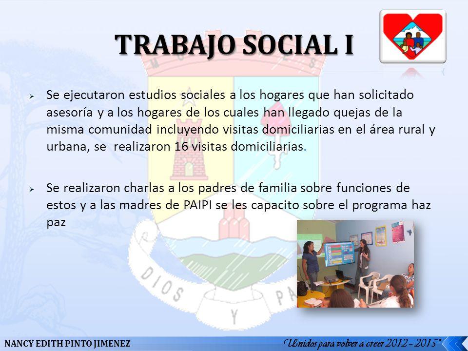Se ejecutaron estudios sociales a los hogares que han solicitado asesoría y a los hogares de los cuales han llegado quejas de la misma comunidad inclu