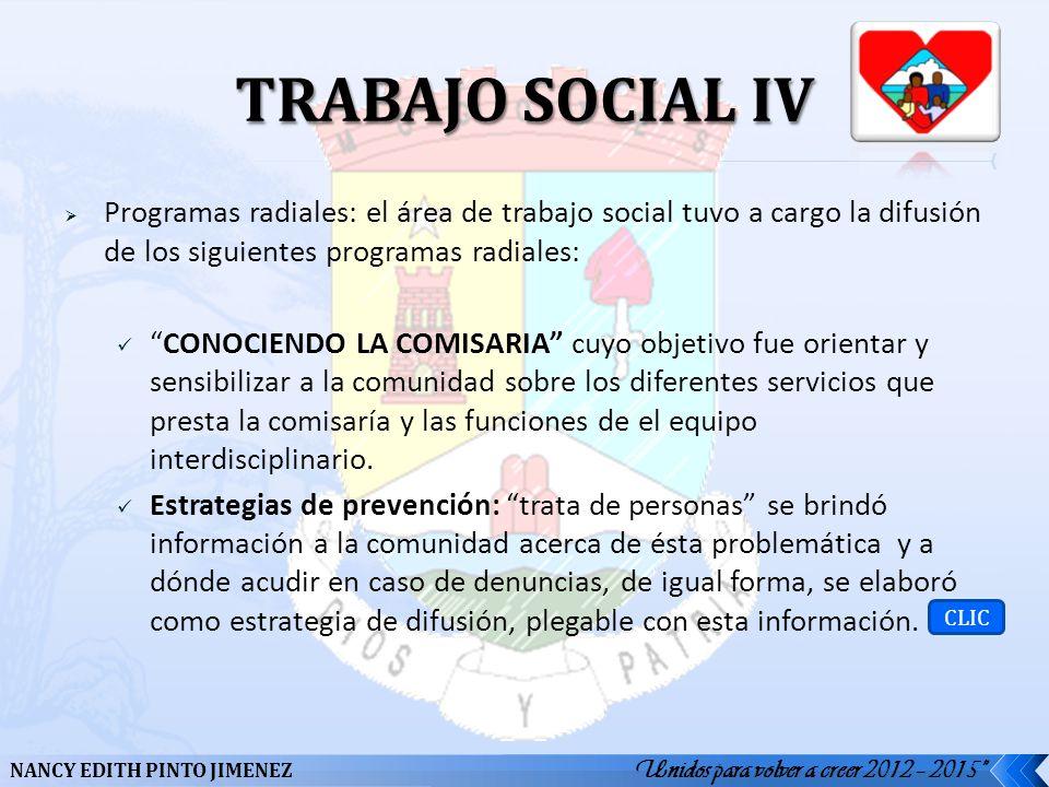 Programas radiales: el área de trabajo social tuvo a cargo la difusión de los siguientes programas radiales: CONOCIENDO LA COMISARIA cuyo objetivo fue