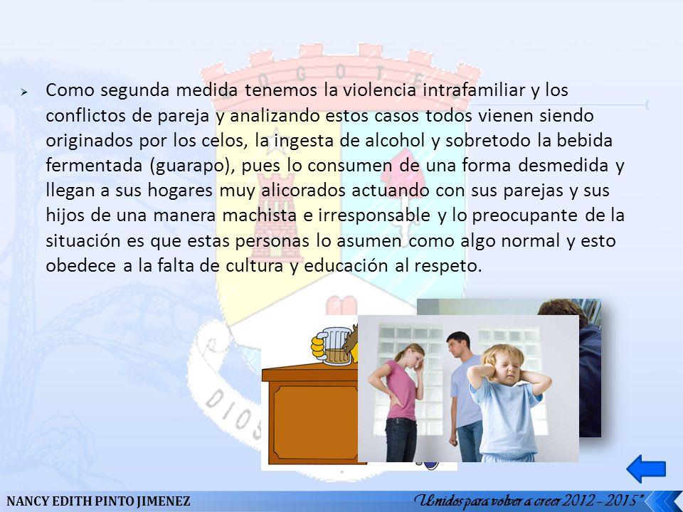 Como segunda medida tenemos la violencia intrafamiliar y los conflictos de pareja y analizando estos casos todos vienen siendo originados por los celo
