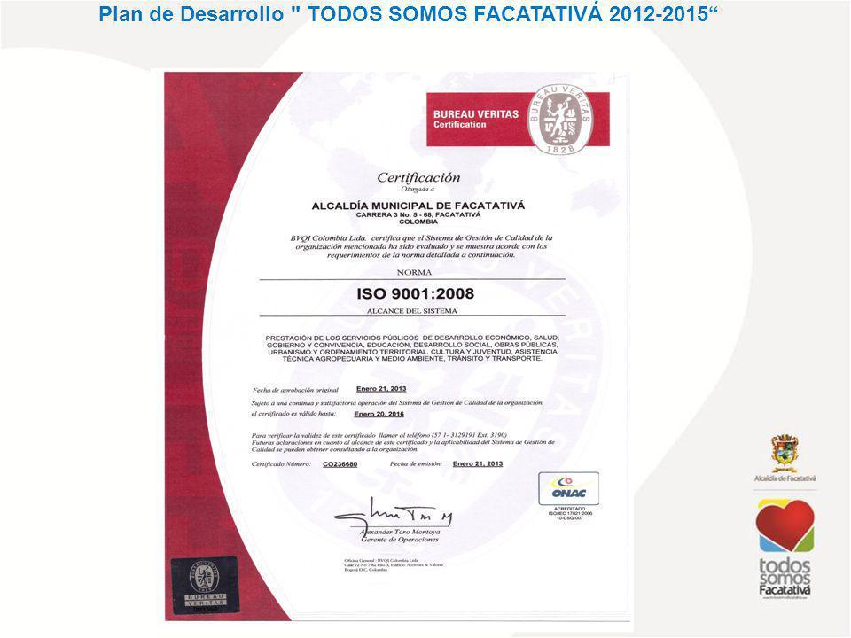 Plan de Desarrollo TODOS SOMOS FACATATIVÁ 2012-2015 INFORME DE GESTIÓN AVANCE 2013 PROCESO DE MEJORA CONTINUNA