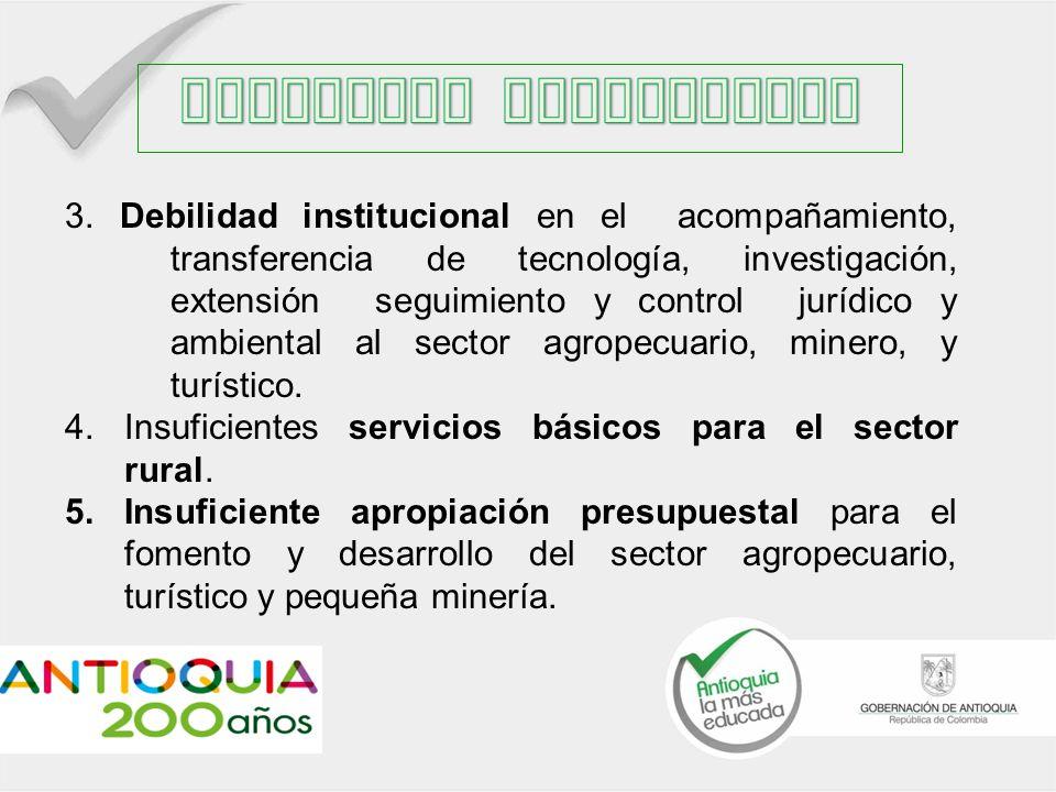 3. Debilidad institucional en el acompañamiento, transferencia de tecnología, investigación, extensión seguimiento y control jurídico y ambiental al s
