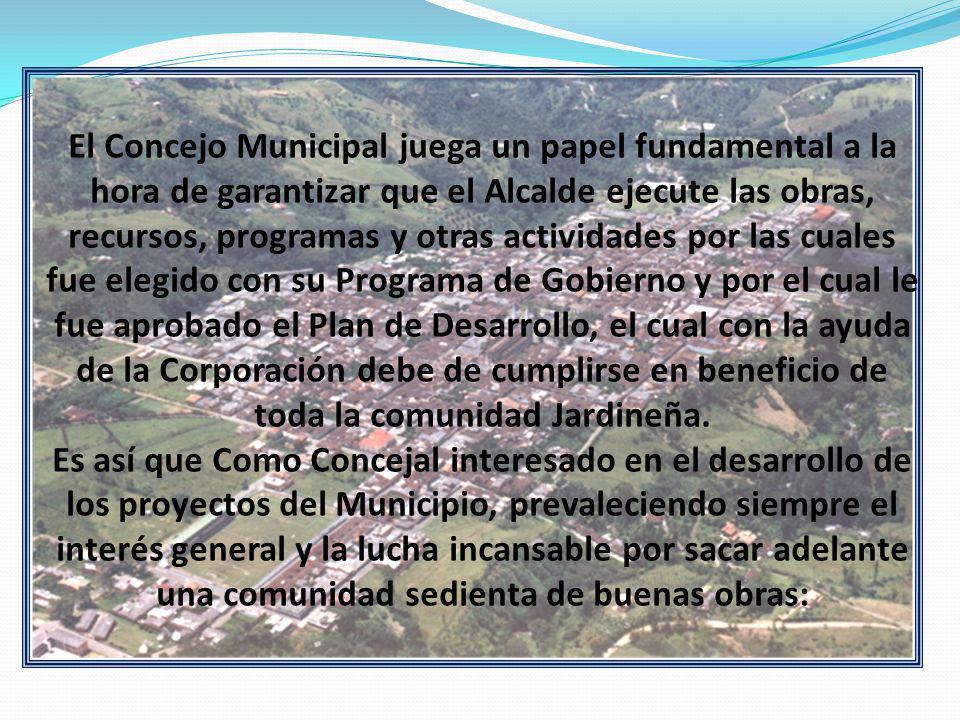 El Concejo Municipal juega un papel fundamental a la hora de garantizar que el Alcalde ejecute las obras, recursos, programas y otras actividades por