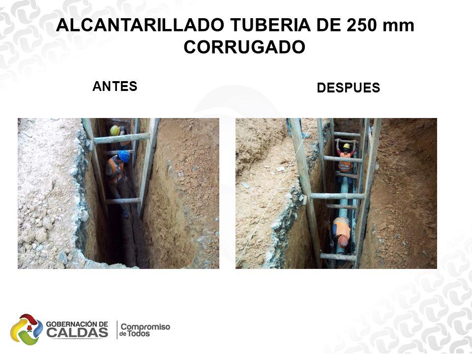 ALCANTARILLADO TUBERIA DE 250 mm CORRUGADO ANTES DURANTE DESPUES