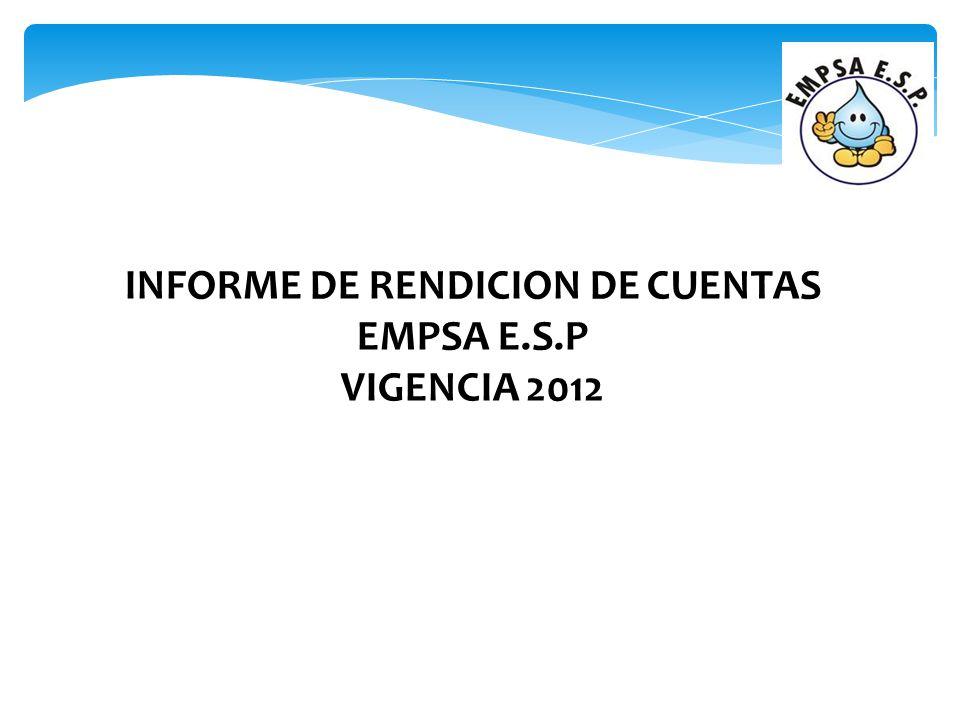 INFORME DE RENDICION DE CUENTAS EMPSA E.S.P VIGENCIA 2012 MIGUEL YAMID PANTOJA SALDAÑA Gerente General