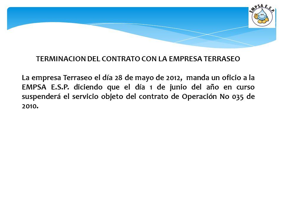 TERMINACION DEL CONTRATO CON LA EMPRESA TERRASEO La empresa Terraseo el día 28 de mayo de 2012, manda un oficio a la EMPSA E.S.P. diciendo que el día
