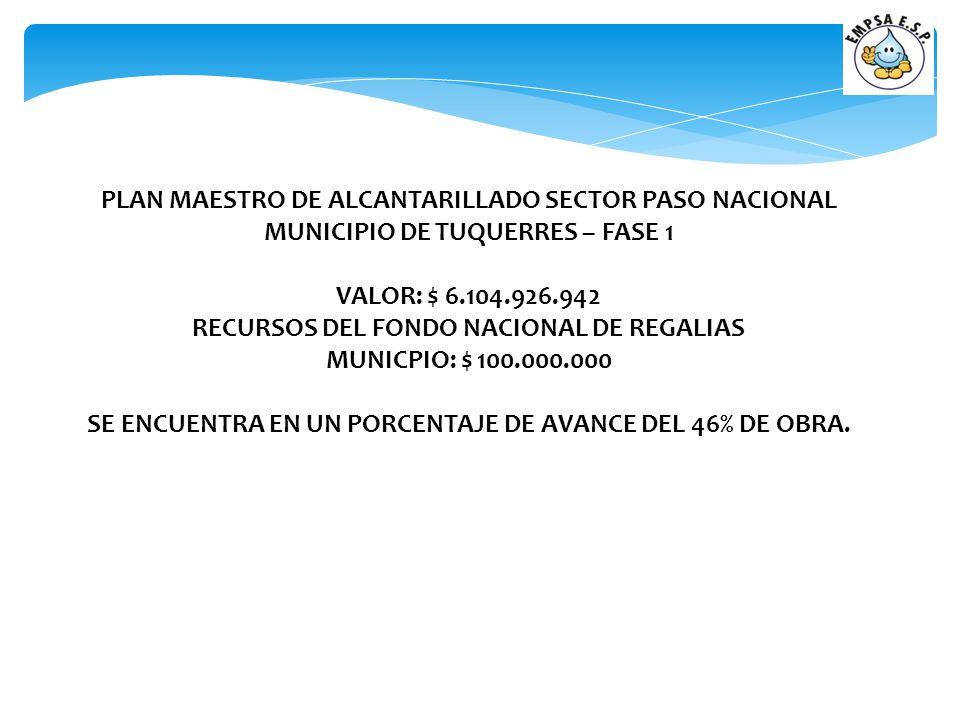 PLAN MAESTRO DE ALCANTARILLADO SECTOR PASO NACIONAL MUNICIPIO DE TUQUERRES – FASE 1 VALOR: $ 6.104.926.942 RECURSOS DEL FONDO NACIONAL DE REGALIAS MUN