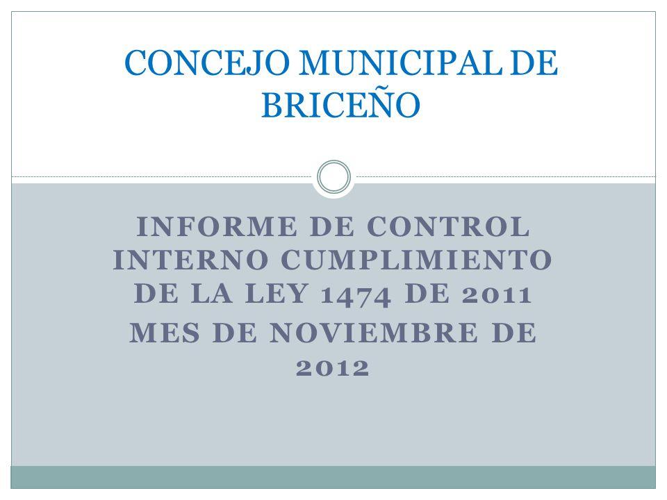 INFORME DE CONTROL INTERNO CUMPLIMIENTO DE LA LEY 1474 DE 2011 MES DE NOVIEMBRE DE 2012 CONCEJO MUNICIPAL DE BRICEÑO