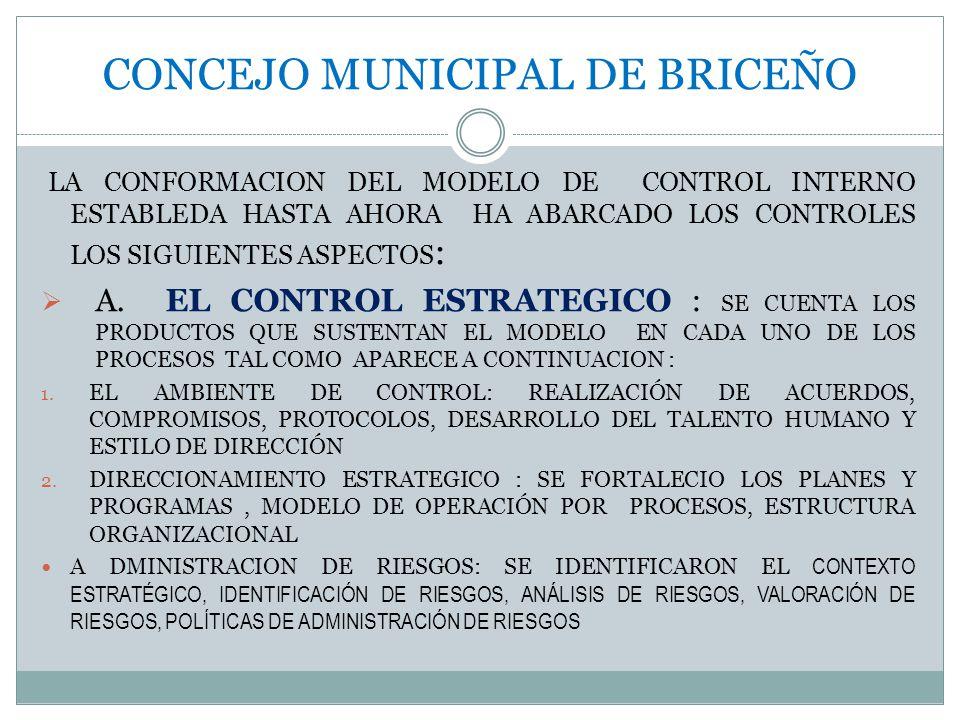 CONCEJO MUNICIPAL DE BRICEÑO LA CONFORMACION DEL MODELO DE CONTROL INTERNO ESTABLEDA HASTA AHORA HA ABARCADO LOS CONTROLES LOS SIGUIENTES ASPECTOS : A.