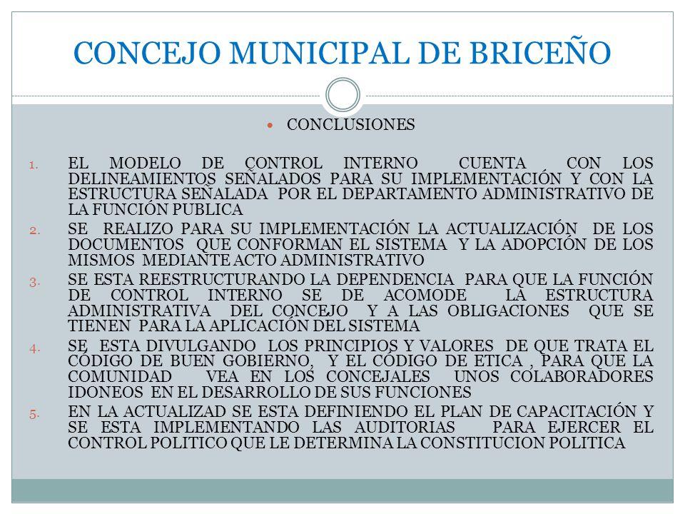 CONCEJO MUNICIPAL DE BRICEÑO CONCLUSIONES 1.