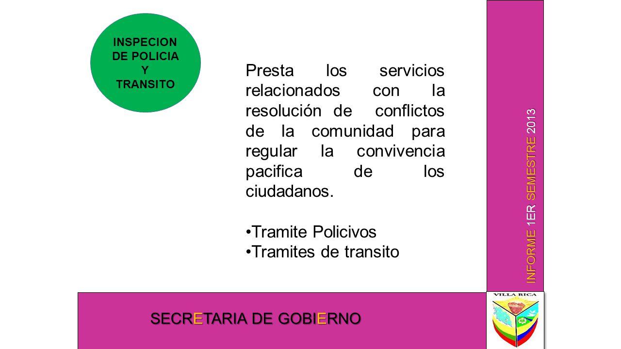 INFORME 1ER SEMESTRE 2013 SECRETARIA DE GOBIERNO INSPECION DE POLICIA Y TRANSITO Presta los servicios relacionados con la resolución de conflictos de la comunidad para regular la convivencia pacifica de los ciudadanos.