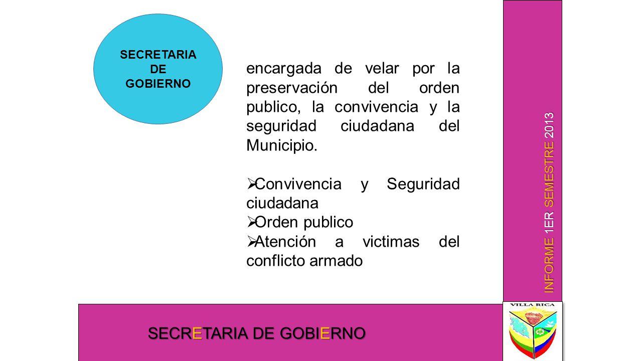 INFORME 1ER SEMESTRE 2013 SECRETARIA DE GOBIERNO encargada de velar por la preservación del orden publico, la convivencia y la seguridad ciudadana del Municipio.