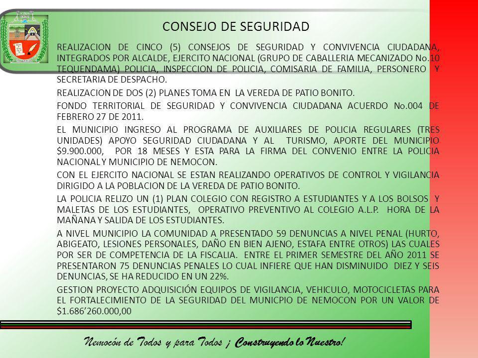 Nemocón de Todos y para Todos ¡ Construyendo lo Nuestro! CONSEJO DE SEGURIDAD REALIZACION DE CINCO (5) CONSEJOS DE SEGURIDAD Y CONVIVENCIA CIUDADANA,