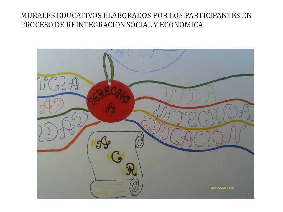 MURALES EDUCATIVOS ELABORADOS POR LOS PARTICIPANTES EN PROCESO DE REINTEGRACION SOCIAL Y ECONOMICA