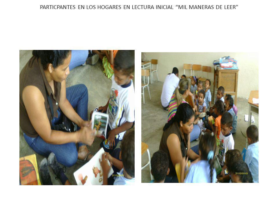 PARTICPANTES EN LOS HOGARES EN LECTURA INICIAL MIL MANERAS DE LEER