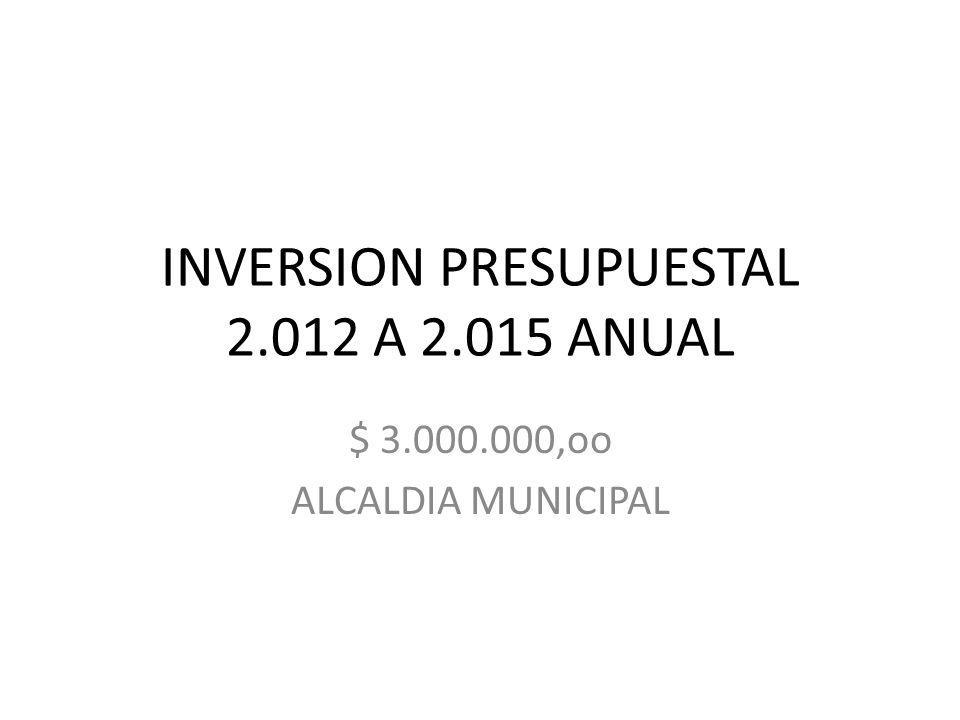 INVERSION PRESUPUESTAL 2.012 A 2.015 ANUAL $ 3.000.000,oo ALCALDIA MUNICIPAL