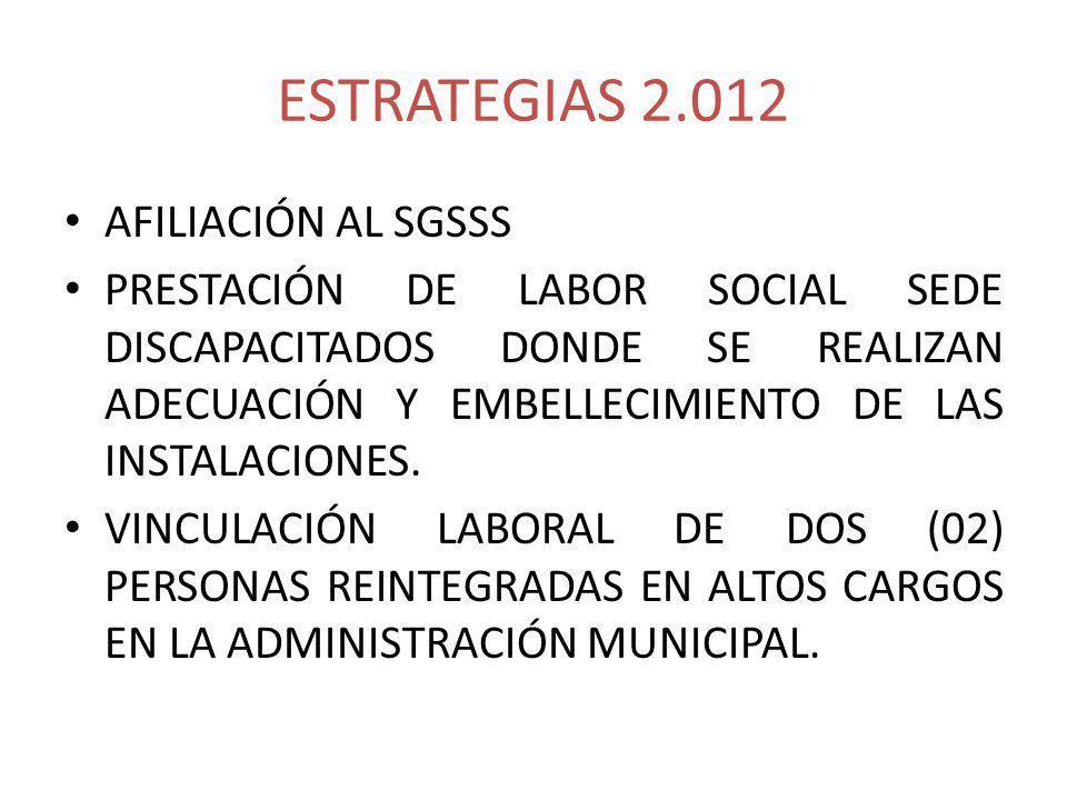 ESTRATEGIAS 2.012 AFILIACIÓN AL SGSSS PRESTACIÓN DE LABOR SOCIAL SEDE DISCAPACITADOS DONDE SE REALIZAN ADECUACIÓN Y EMBELLECIMIENTO DE LAS INSTALACIONES.