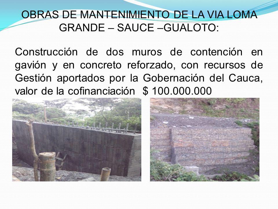 OBRAS DE MANTENIMIENTO DE LA VIA LOMA GRANDE – SAUCE –GUALOTO: Construcción de dos muros de contención en gavión y en concreto reforzado, con recursos