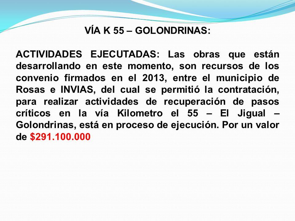 VÍA K 55 – GOLONDRINAS: ACTIVIDADES EJECUTADAS: Las obras que están desarrollando en este momento, son recursos de los convenio firmados en el 2013, e