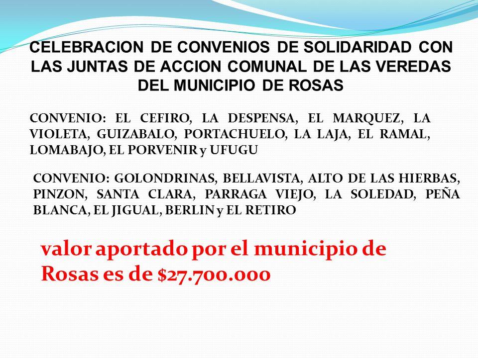 CELEBRACION DE CONVENIOS DE SOLIDARIDAD CON LAS JUNTAS DE ACCION COMUNAL DE LAS VEREDAS DEL MUNICIPIO DE ROSAS CONVENIO: EL CEFIRO, LA DESPENSA, EL MA