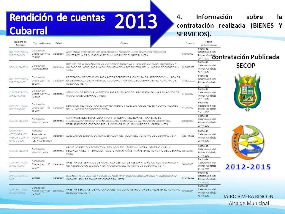 4. Información sobre la contratación realizada (BIENES Y SERVICIOS).