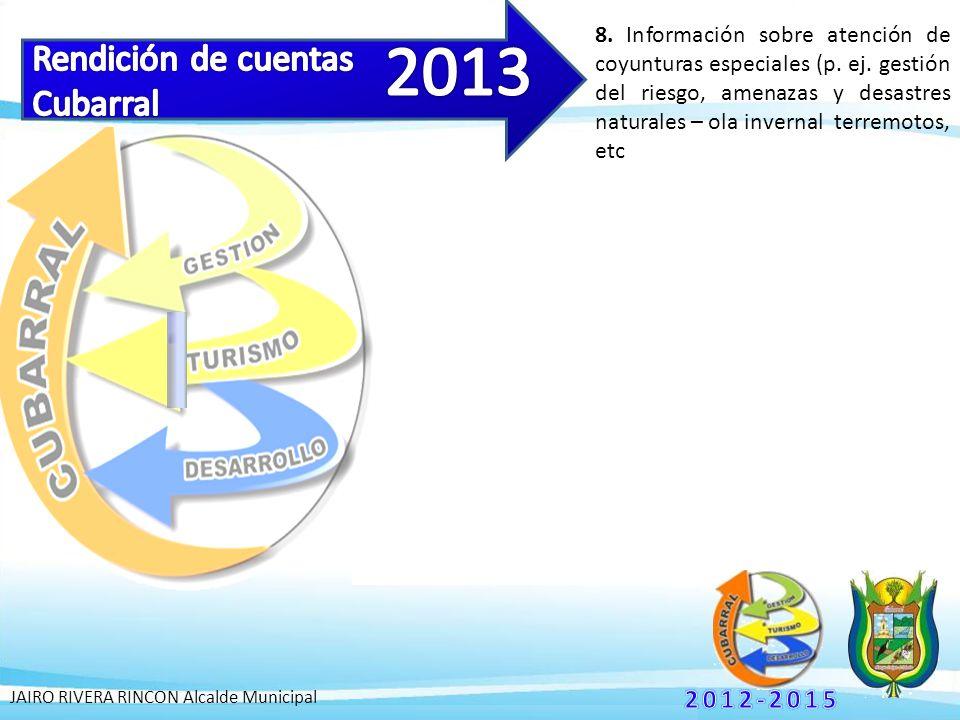 8. Información sobre atención de coyunturas especiales (p.