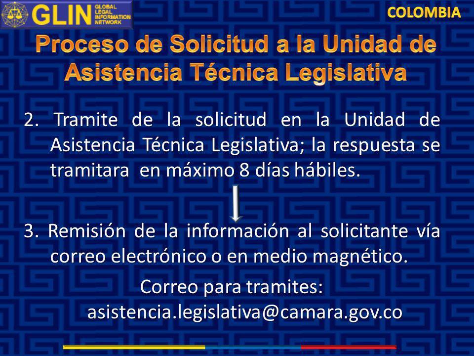 2. Tramite de la solicitud en la Unidad de Asistencia Técnica Legislativa; la respuesta se tramitara en máximo 8 días hábiles. 3. Remisión de la infor
