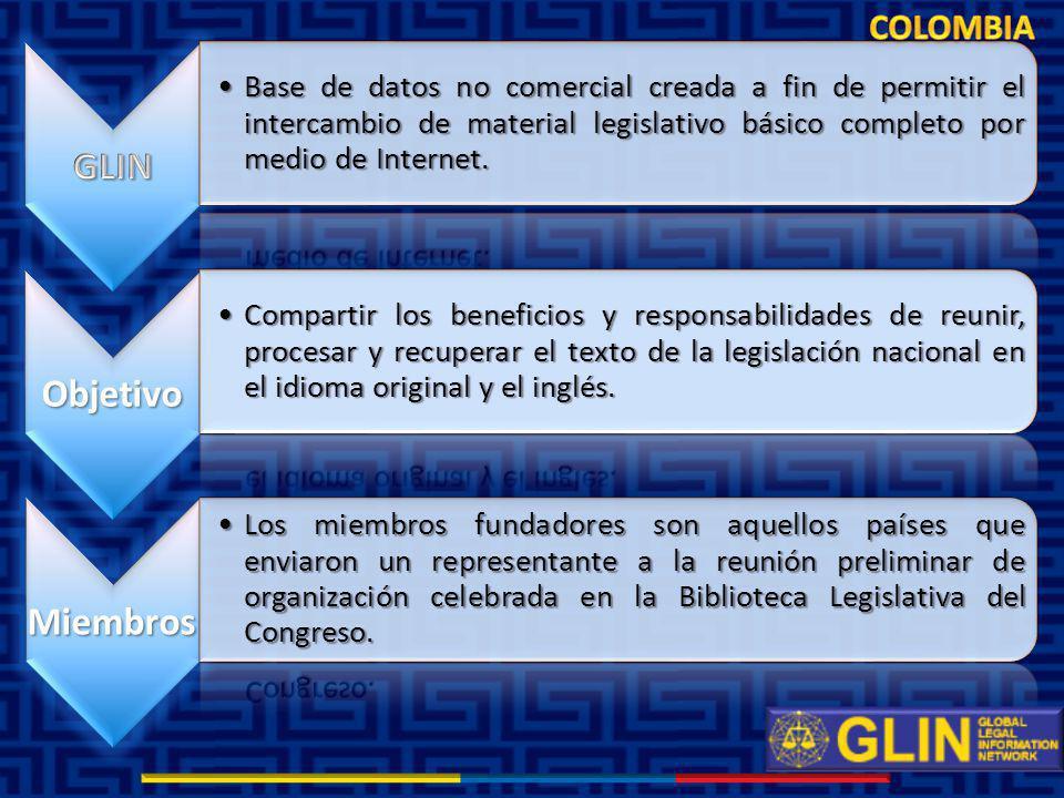 Desde el inicio del segundo semestre del 2010 los resultados del proyecto GLIN al mes de Septiembre son: Desde el inicio del segundo semestre del 2010 los resultados del proyecto GLIN al mes de Septiembre son: 240 leyes incorporadas a la red GLIN, con su, Abstract, Palabras Claves, Hipervínculo a la Gaceta Oficial del Congreso y Recursos Jurídicos Relacionados.