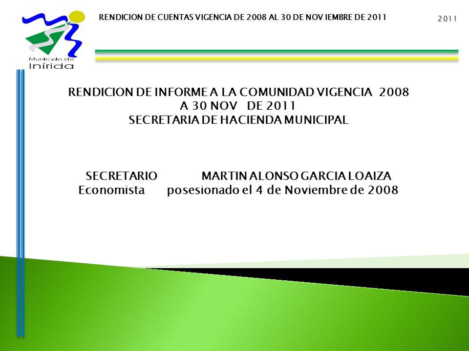 RENDICION DE CUENTAS VIGENCIA DE 2008 AL 30 DE NOV IEMBRE DE 2011 RENDICION DE INFORME A LA COMUNIDAD VIGENCIA 2008 A 30 NOV DE 2011 SECRETARIA DE HACIENDA MUNICIPAL SECRETARIO MARTIN ALONSO GARCIA LOAIZA Economista posesionado el 4 de Noviembre de 2008