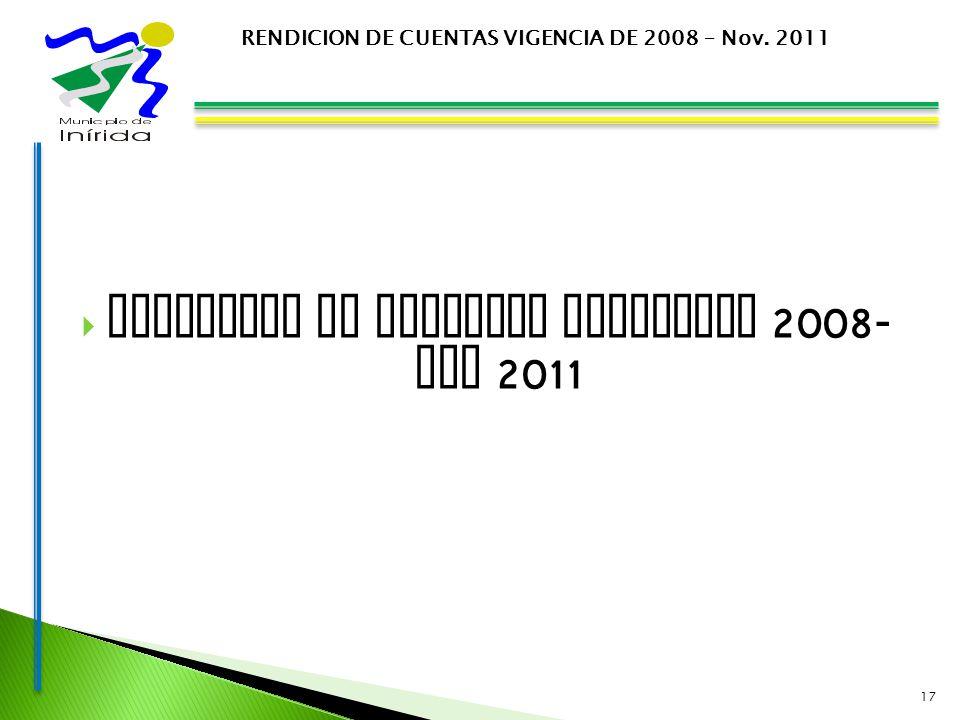 EJECUCION DE INGRESOS VIGENCIAS 2008- NOV 2011 17 RENDICION DE CUENTAS VIGENCIA DE 2008 – Nov. 2011