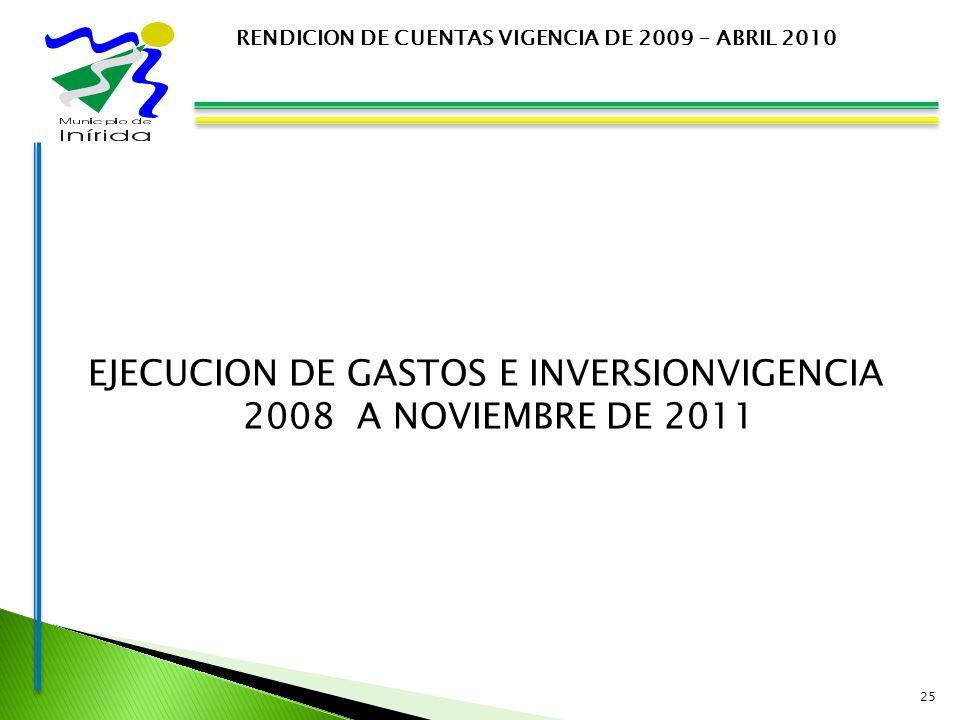 25 RENDICION DE CUENTAS VIGENCIA DE 2009 – ABRIL 2010 EJECUCION DE GASTOS E INVERSIONVIGENCIA 2008 A NOVIEMBRE DE 2011