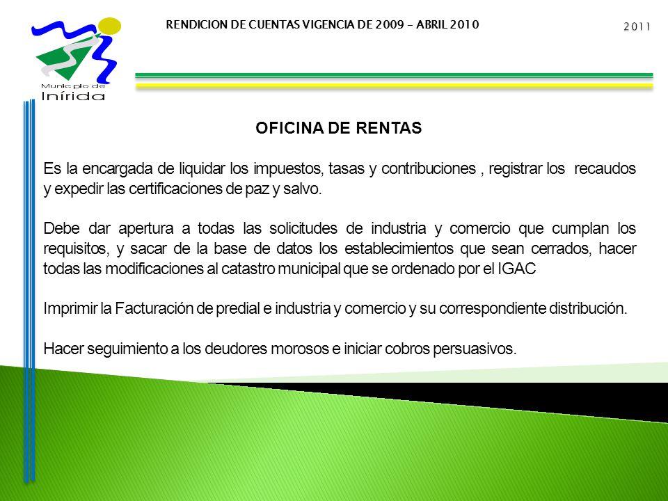 RENDICION DE CUENTAS VIGENCIA DE 2009 – ABRIL 2010 OFICINA DE RENTAS Es la encargada de liquidar los impuestos, tasas y contribuciones, registrar los recaudos y expedir las certificaciones de paz y salvo.