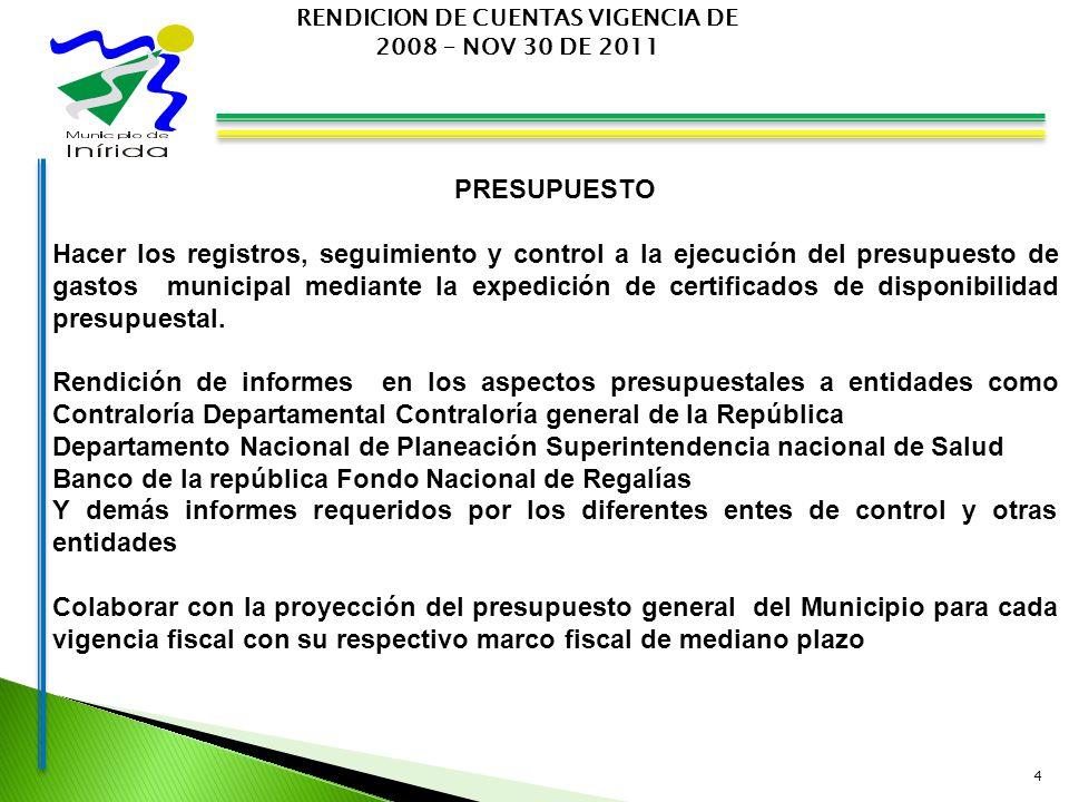 4 RENDICION DE CUENTAS VIGENCIA DE 2008 – NOV 30 DE 2011 PRESUPUESTO Hacer los registros, seguimiento y control a la ejecución del presupuesto de gastos municipal mediante la expedición de certificados de disponibilidad presupuestal.