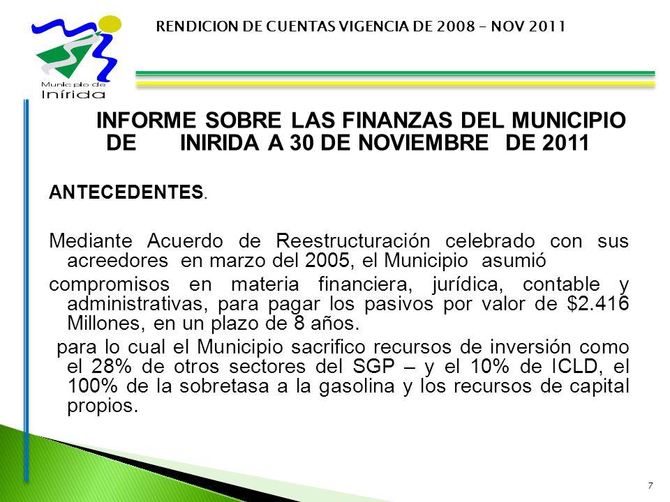 INFORME SOBRE LAS FINANZAS DEL MUNICIPIO DE INIRIDA A 30 DE NOVIEMBRE DE 2011 ANTECEDENTES.