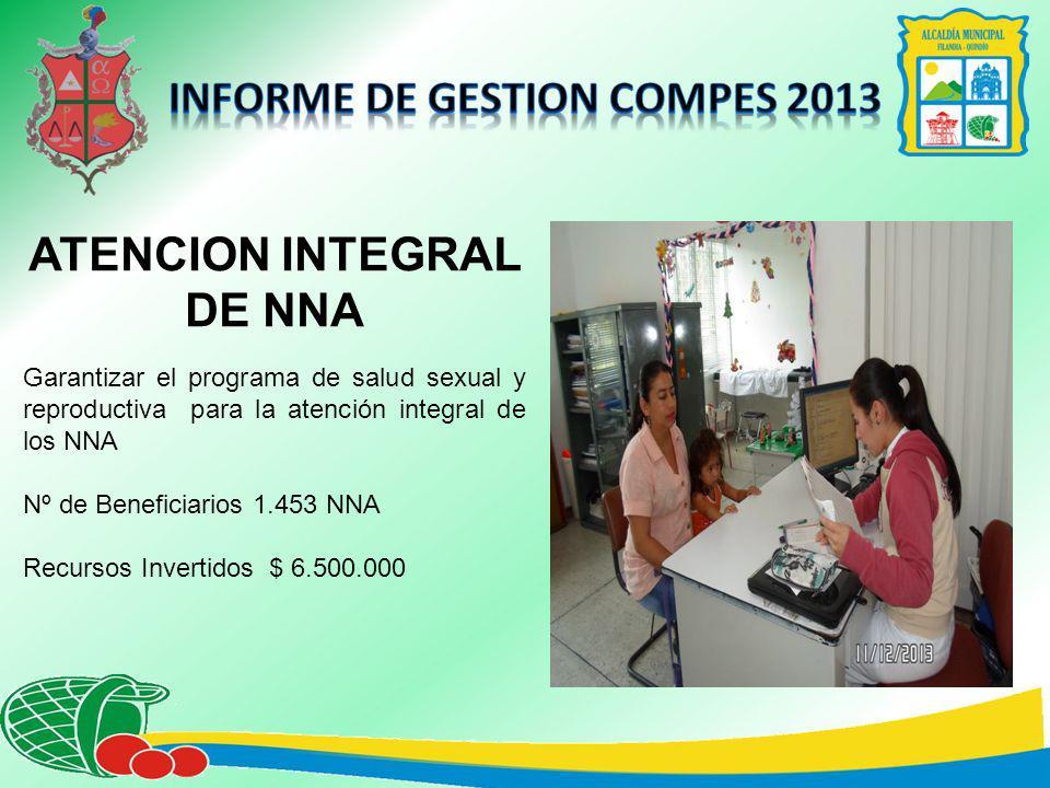 ATENCION INTEGRAL DE NNA Garantizar el programa de salud sexual y reproductiva para la atención integral de los NNA Nº de Beneficiarios 1.453 NNA Recursos Invertidos $ 6.500.000