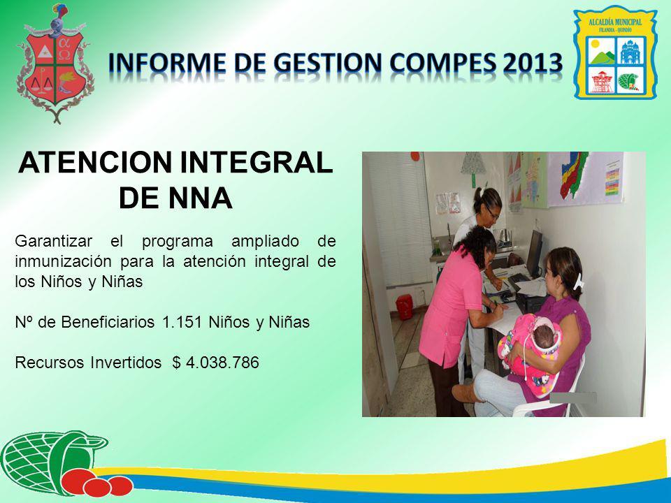 ATENCION INTEGRAL DE NNA Garantizar el programa ampliado de inmunización para la atención integral de los Niños y Niñas Nº de Beneficiarios 1.151 Niños y Niñas Recursos Invertidos $ 4.038.786