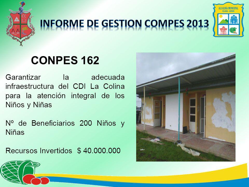 CONPES 162 Garantizar la adecuada infraestructura del CDI La Colina para la atención integral de los Niños y Niñas Nº de Beneficiarios 200 Niños y Niñas Recursos Invertidos $ 40.000.000