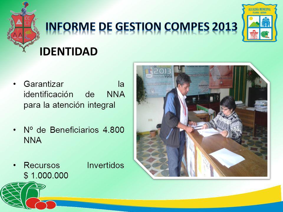 IDENTIDAD Garantizar la identificación de NNA para la atención integral Nº de Beneficiarios 4.800 NNA Recursos Invertidos $ 1.000.000
