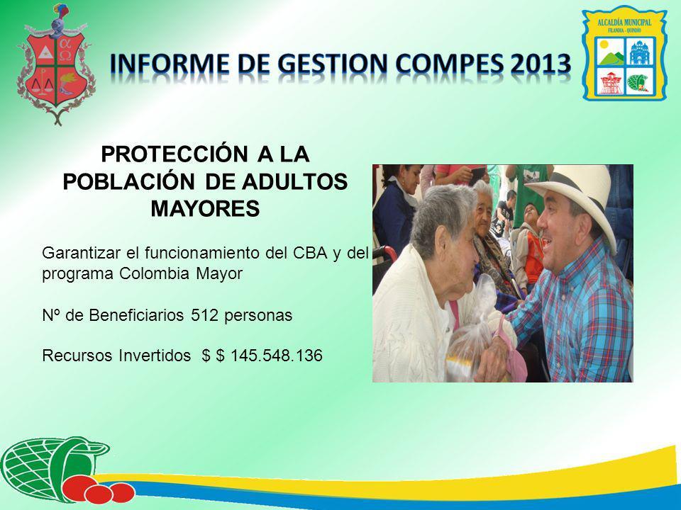 PROTECCIÓN A LA POBLACIÓN DE ADULTOS MAYORES Garantizar el funcionamiento del CBA y del programa Colombia Mayor Nº de Beneficiarios 512 personas Recursos Invertidos $ $ 145.548.136