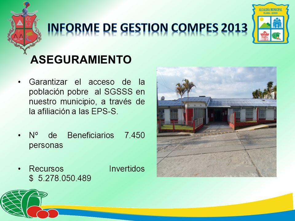 ASEGURAMIENTO Garantizar el acceso de la población pobre al SGSSS en nuestro municipio, a través de la afiliación a las EPS-S.